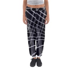 Black and white warped lines Women s Jogger Sweatpants