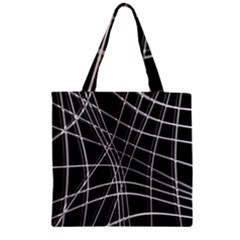 Black and white warped lines Zipper Grocery Tote Bag