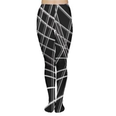 Black and white warped lines Women s Tights
