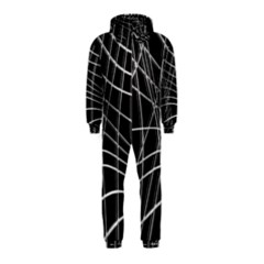 Black and white warped lines Hooded Jumpsuit (Kids)