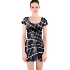 Black and white warped lines Short Sleeve Bodycon Dress