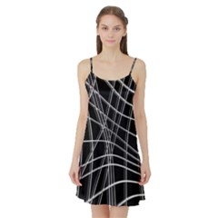 Black and white warped lines Satin Night Slip