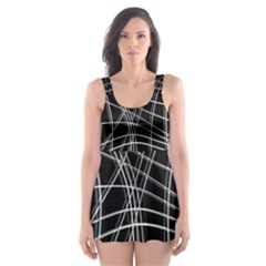 Black and white warped lines Skater Dress Swimsuit