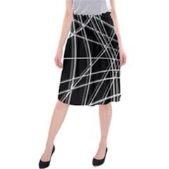 Black and white warped lines Midi Beach Skirt