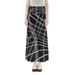 Black And White Warped Lines Maxi Skirts