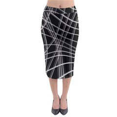 Black and white warped lines Midi Pencil Skirt