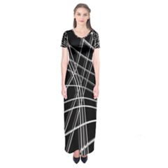 Black and white warped lines Short Sleeve Maxi Dress
