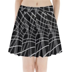 Black And White Warped Lines Pleated Mini Skirt