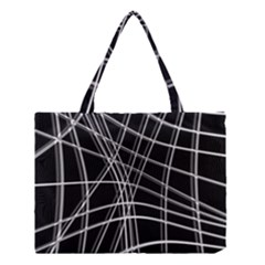Black and white warped lines Medium Tote Bag