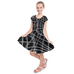 Black and white warped lines Kids  Short Sleeve Dress