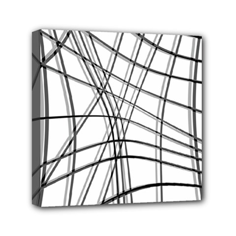 White and black warped lines Mini Canvas 6  x 6