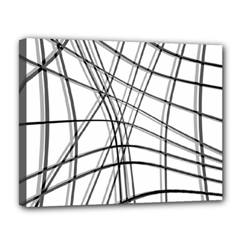 White and black warped lines Canvas 14  x 11