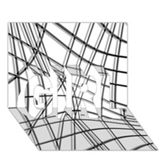 White and black warped lines GIRL 3D Greeting Card (7x5)