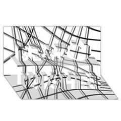 White and black warped lines Best Wish 3D Greeting Card (8x4)