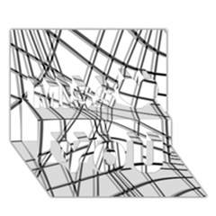 White and black warped lines Miss You 3D Greeting Card (7x5)