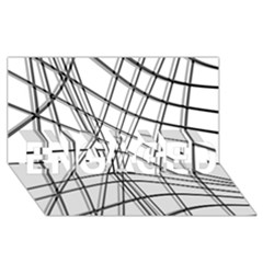 White and black warped lines ENGAGED 3D Greeting Card (8x4)