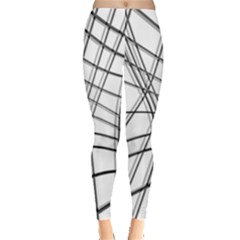 White and black warped lines Leggings