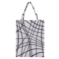 White and black warped lines Classic Tote Bag