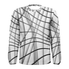 White and black warped lines Men s Long Sleeve Tee