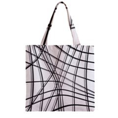 White and black warped lines Zipper Grocery Tote Bag