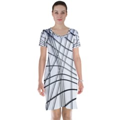 White and black warped lines Short Sleeve Nightdress