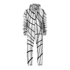 White and black warped lines Hooded Jumpsuit (Kids)