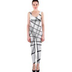 White and black warped lines OnePiece Catsuit