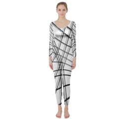 White and black warped lines Long Sleeve Catsuit