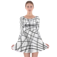 White and black warped lines Long Sleeve Skater Dress