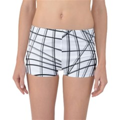 White and black warped lines Reversible Boyleg Bikini Bottoms