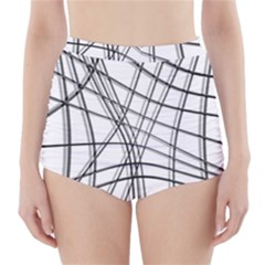 White and black warped lines High-Waisted Bikini Bottoms
