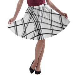White and black warped lines A-line Skater Skirt