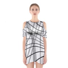 White and black warped lines Cutout Shoulder Dress