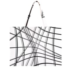 White And Black Warped Lines Zipper Large Tote Bag