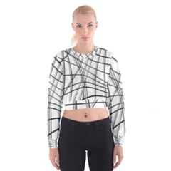 White and black warped lines Women s Cropped Sweatshirt