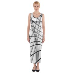 White and black warped lines Fitted Maxi Dress