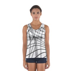 White and black warped lines Women s Sport Tank Top