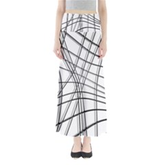 White And Black Warped Lines Maxi Skirts