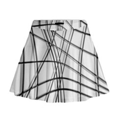 White and black warped lines Mini Flare Skirt