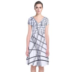 White And Black Warped Lines Short Sleeve Front Wrap Dress