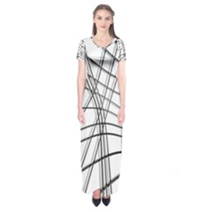 White and black warped lines Short Sleeve Maxi Dress