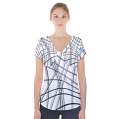 White And Black Warped Lines Short Sleeve Front Detail Top