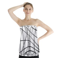 White and black warped lines Strapless Top