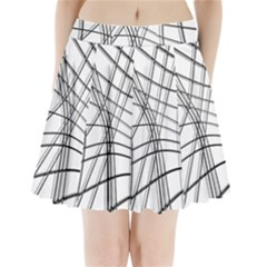 White and black warped lines Pleated Mini Skirt
