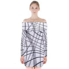 White and black warped lines Long Sleeve Off Shoulder Dress