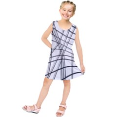 White and black warped lines Kids  Tunic Dress