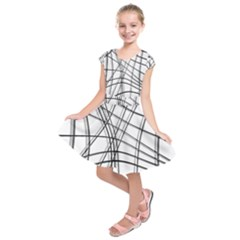 White and black warped lines Kids  Short Sleeve Dress