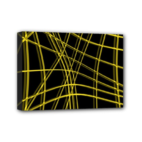 Yellow abstract warped lines Mini Canvas 7  x 5