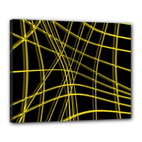Yellow abstract warped lines Canvas 20  x 16