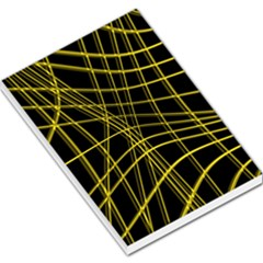 Yellow abstract warped lines Large Memo Pads